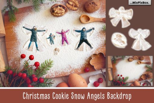 Christmas Cookie Snow Angel Backdrop