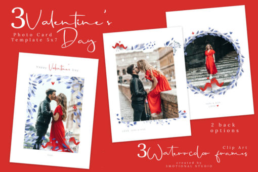 Valentine's Day Photo Card Photoshop and PNG Template