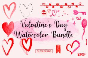Valentines Day Watercolor Bundle - FilterGrade