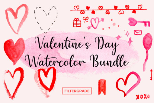 Valentines Day Watercolor Bundle - FilterGrade