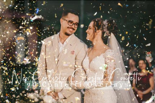 Realistic Colorful Confetti Photo Overlays