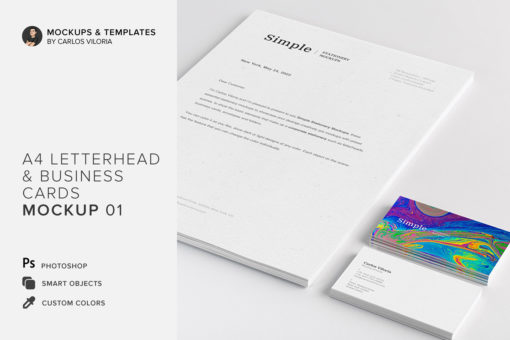 A4 Letterhead and Business Cards Mockup 01
