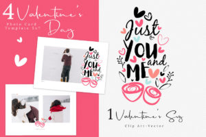 Valentine's Day Photo Card Template, Love Calligraphy SVG