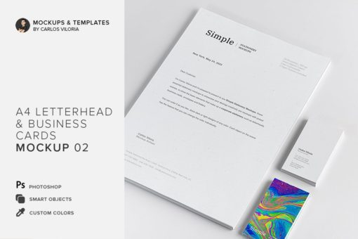 A4 Letterhead and Business Cards Mockup 02