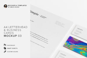 A4 Letterhead and Business Cards Mockup 03