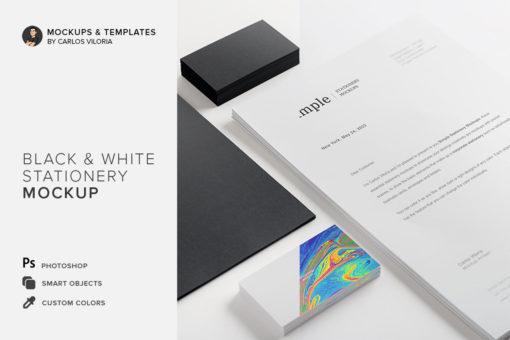 Black & White Stationery Mockup 01