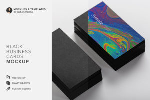Black Business Cards Mockup 01