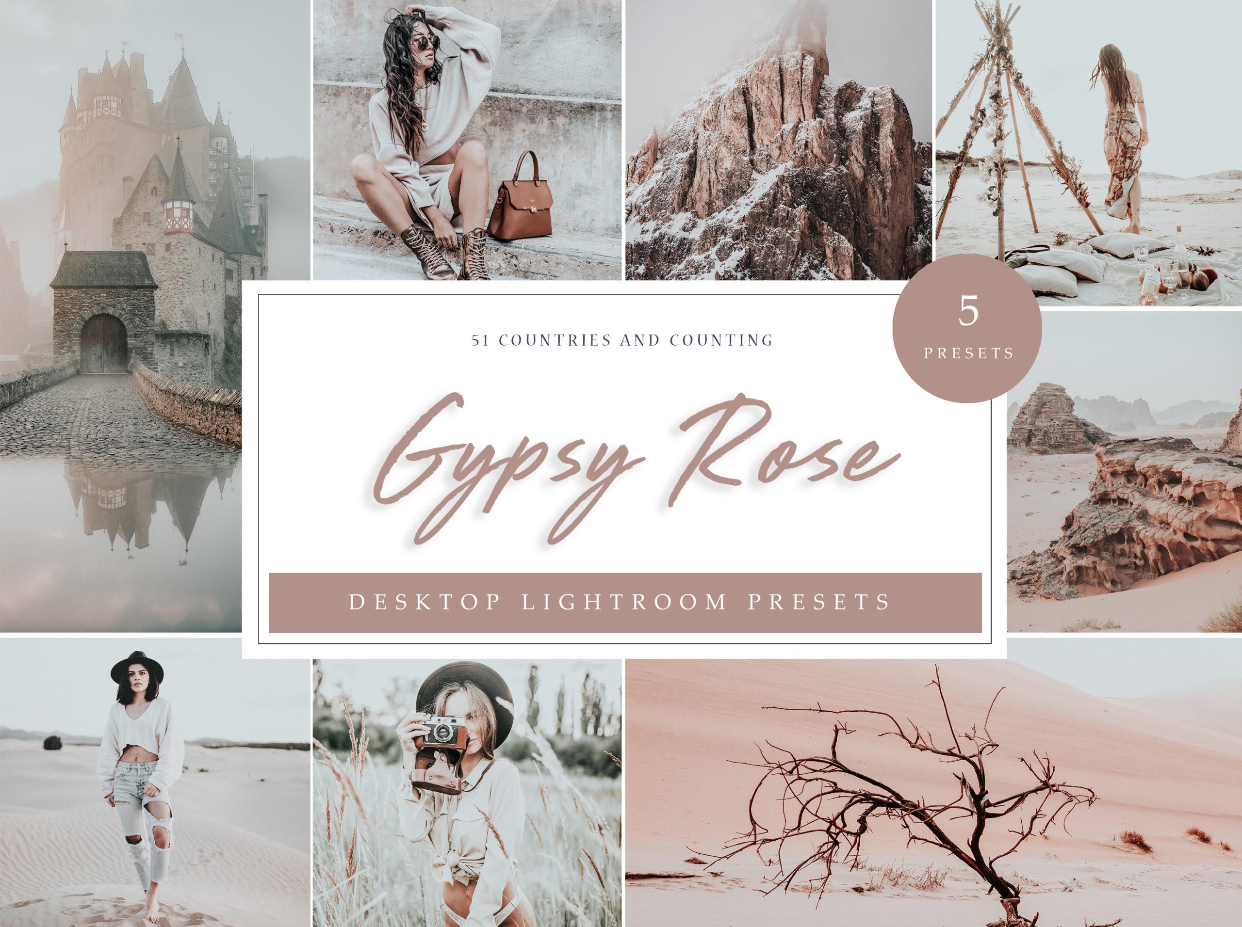 Gypsy Rose Desktop Lightroom Presets // LR Template