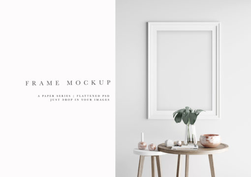 Long White Portrait Frame Mockup PSD Smart Object #183