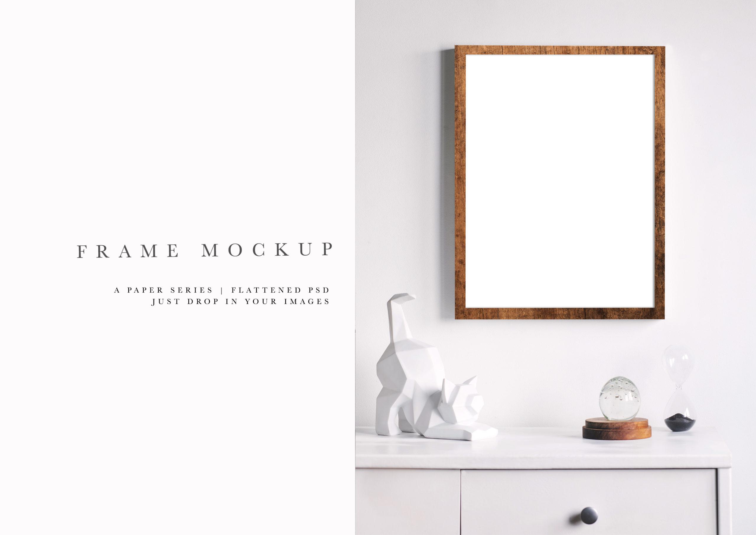 Styled Walnut Wood Portrait Photo Frame Mockup #214