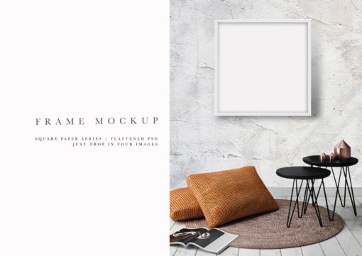 White Square Photo Frame Mockup #202