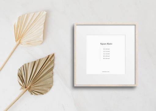 Birch Wood Square Photo Frame Mockup #308