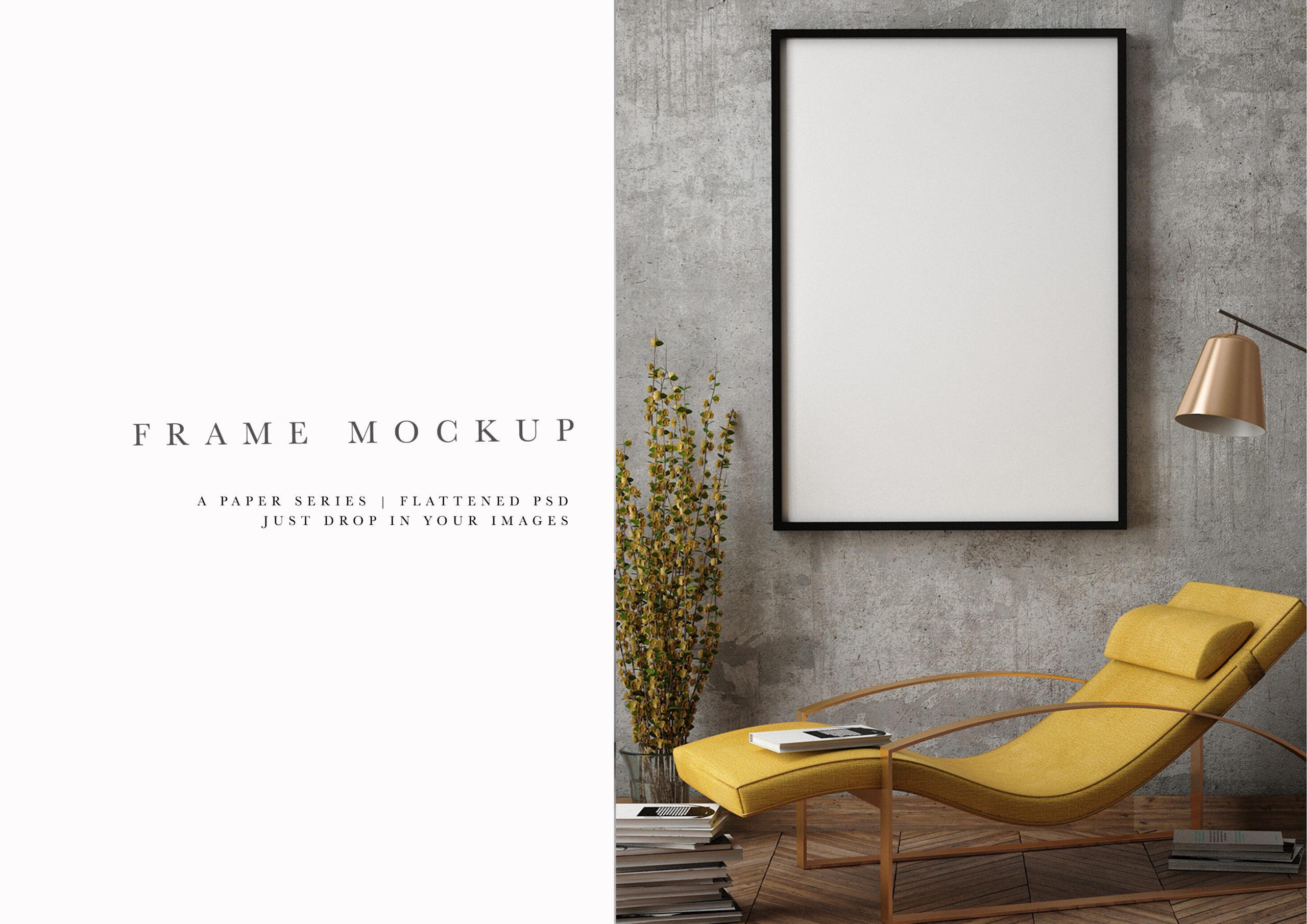 black photo frame mockup office setting
