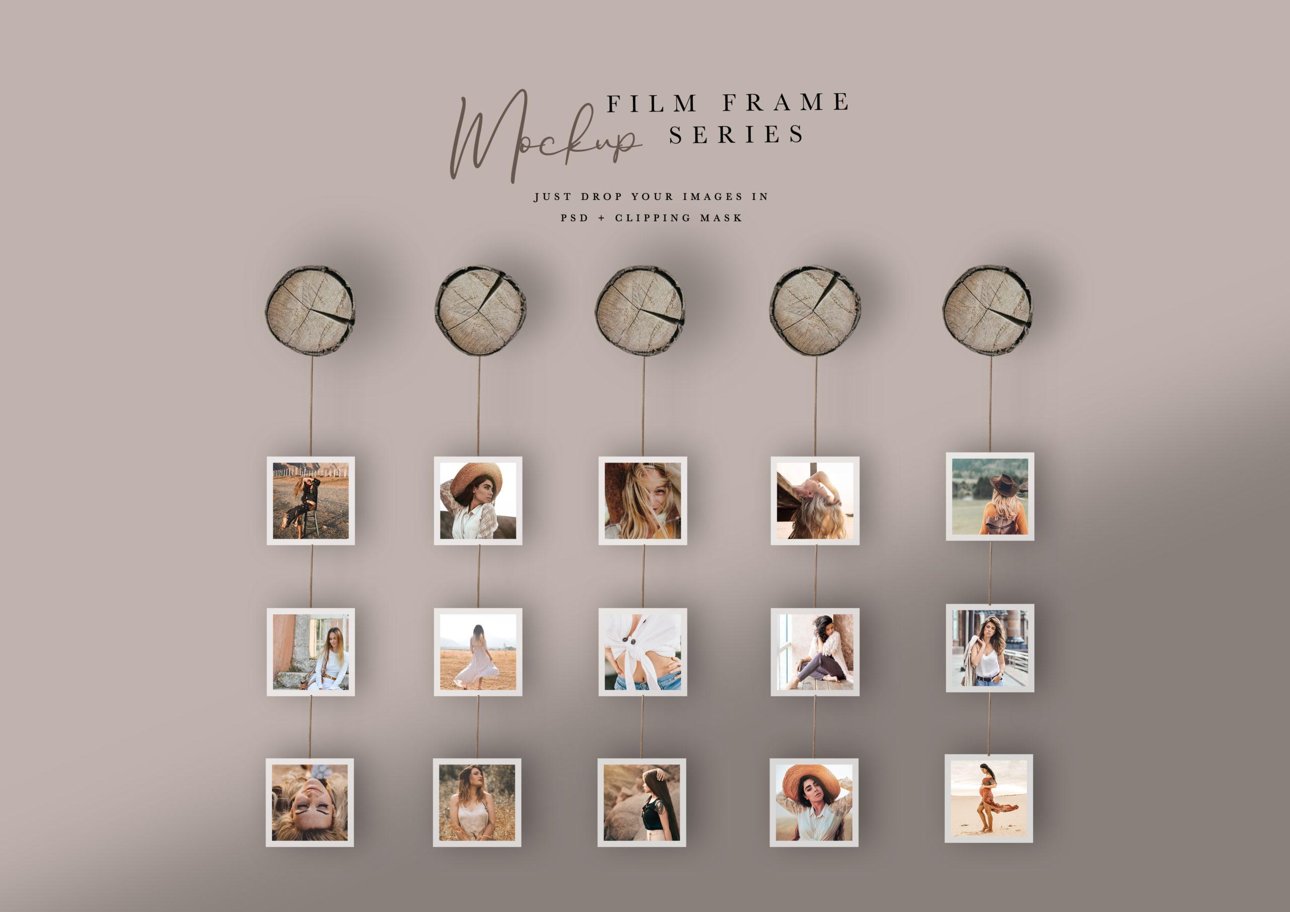 film frame series mockups for photoshop