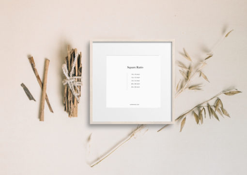 Beige Wood Square Photo Frame Mockup #342