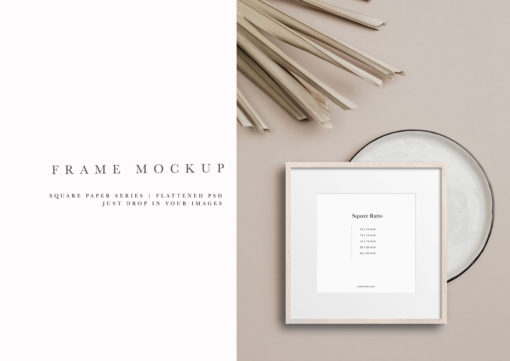 Styled Birch Wood Square Photo Frame Mockup #306