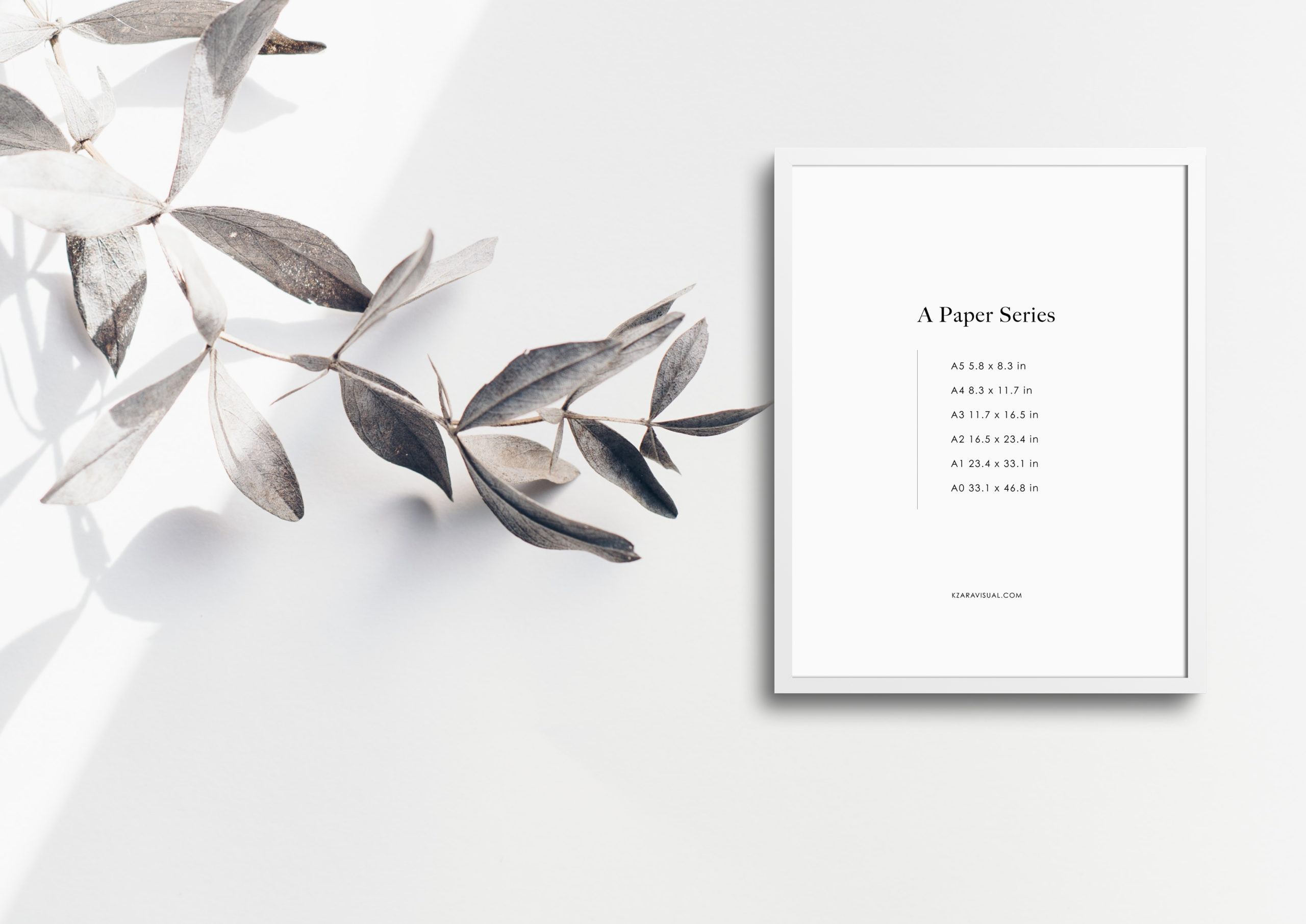 styled thin photo frame with leaves