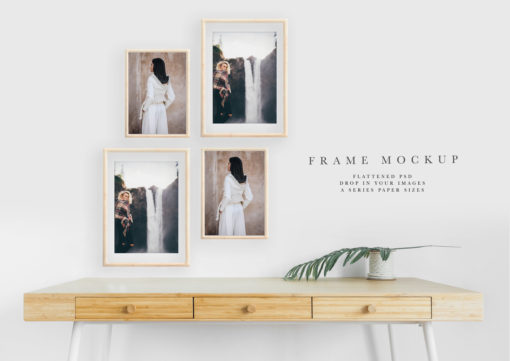 Four Frame Mockup and Living Room Styled Scene #68