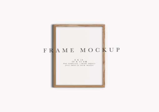 8x10 Oak Portrait Photo Frame Mockup #124