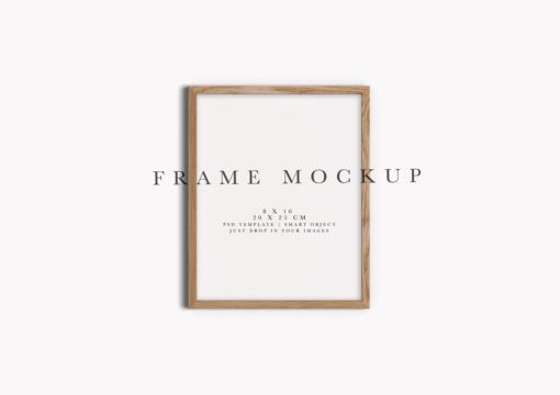 8x10 Oak Portrait Photo Frame Mockup #124