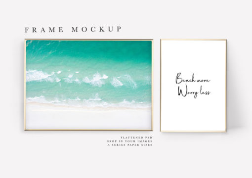 Gold Two Photo Frame Mockup #164 (Landscape and Portrait, A4)
