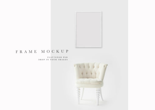 White Portrait Photo Frame Mockup #110