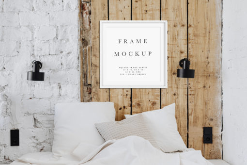 White Square Photo Styled Thin Frame Mockup #177