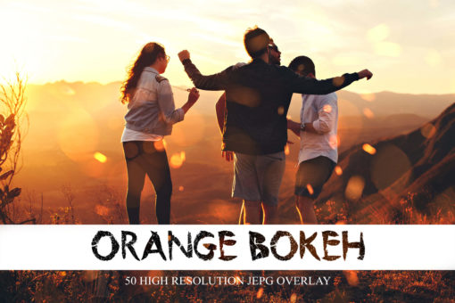 50 Orange Bokeh Light Overlays