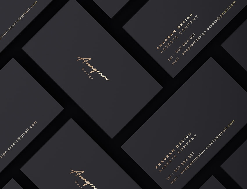 black and gold business cards mockup