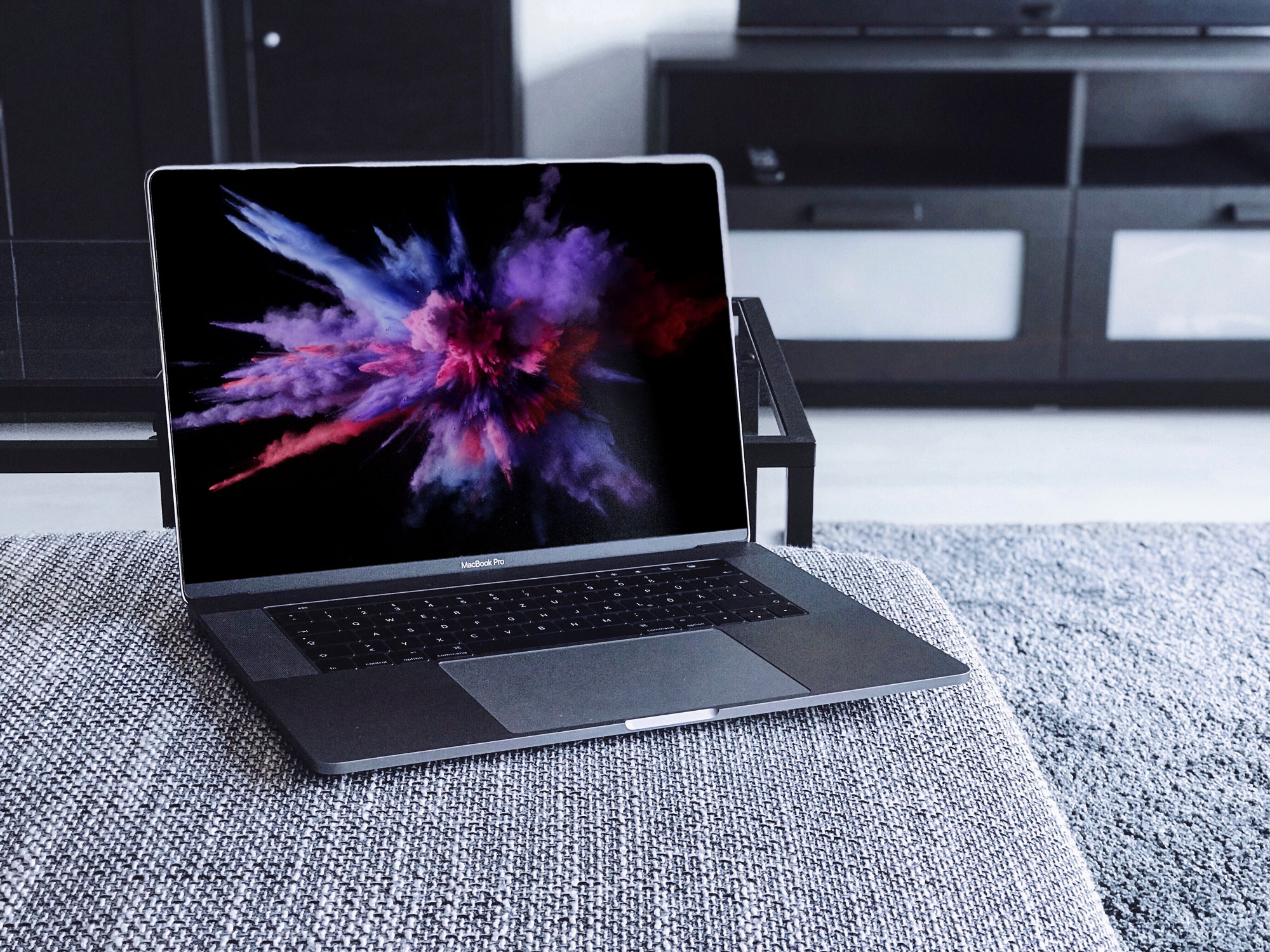 macbook on couch mockup
