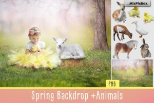 Spring Backdrop + Animals Graphics