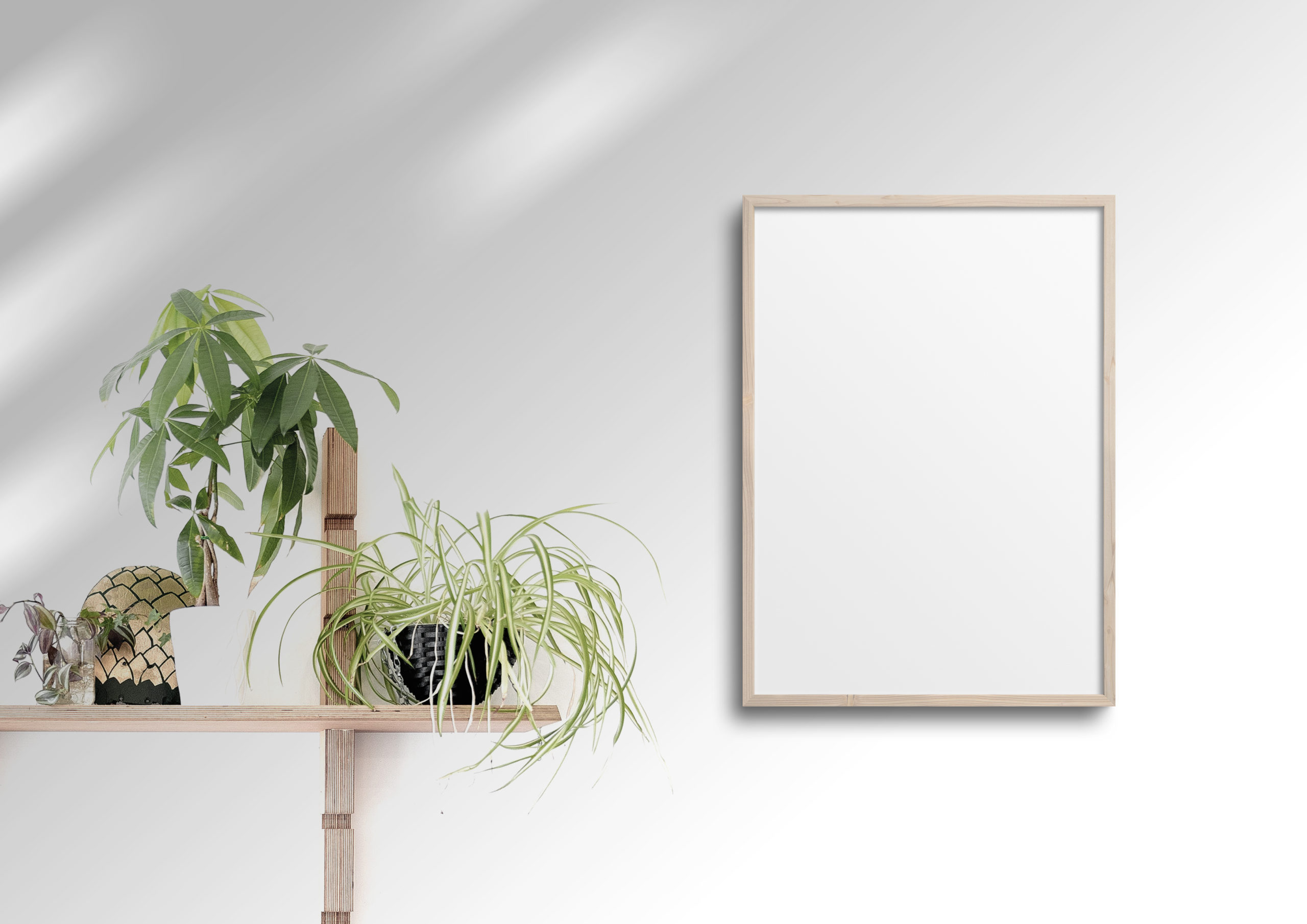 beige wood thin frame mockup with plants
