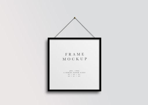 Black Square Hanging Frame Mockup #453 | PSD + Smart Object