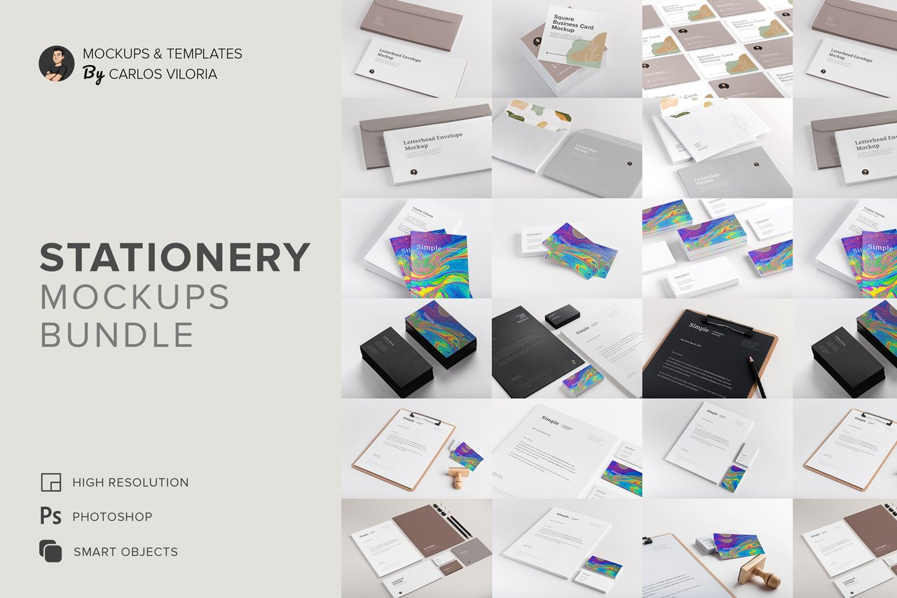Business Stationery Print Mockups Bundle