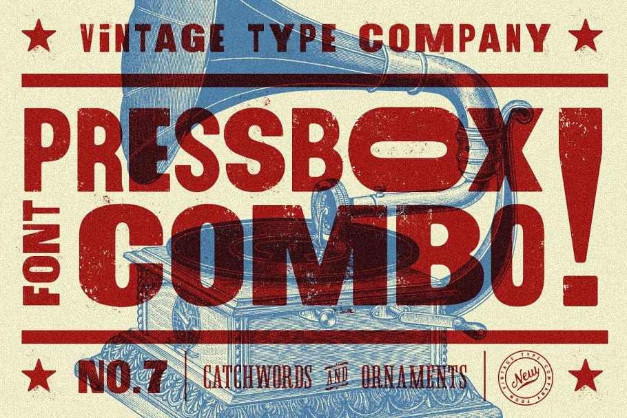 pressbox distressed font combo