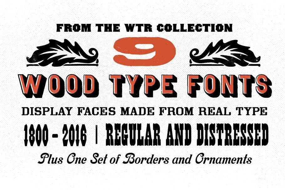 wood type fonts bundle