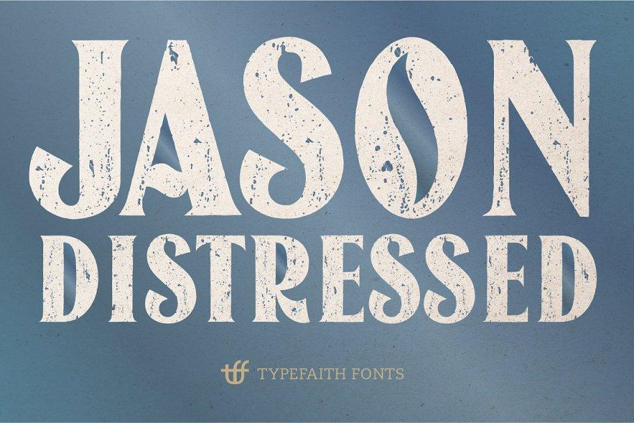 jason distressed font