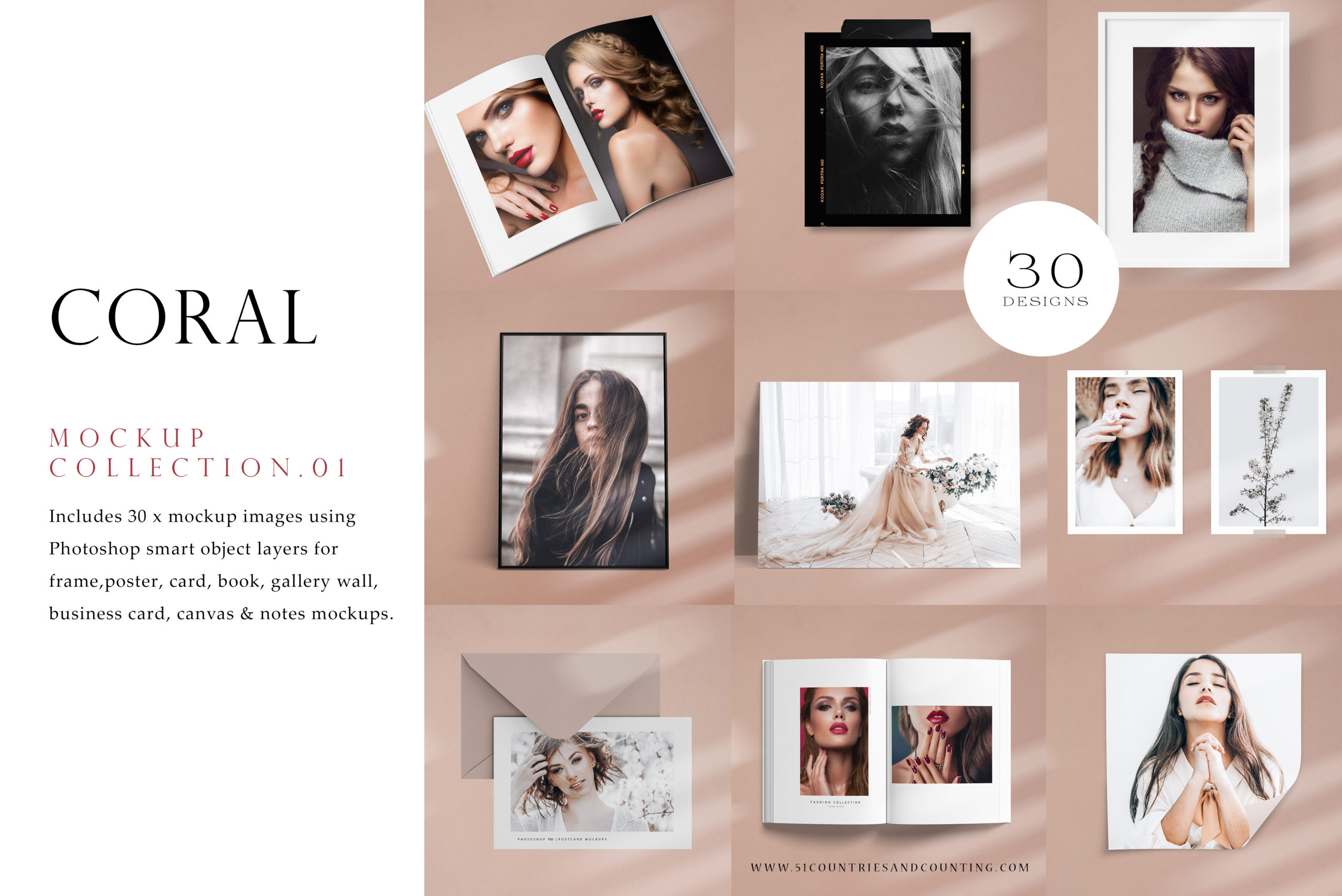 coral theme mockup collection for photographers