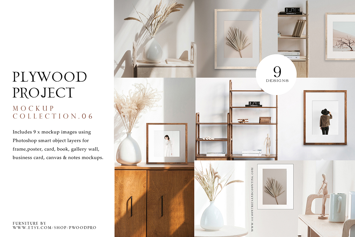 plywood project mockup collection for photographers