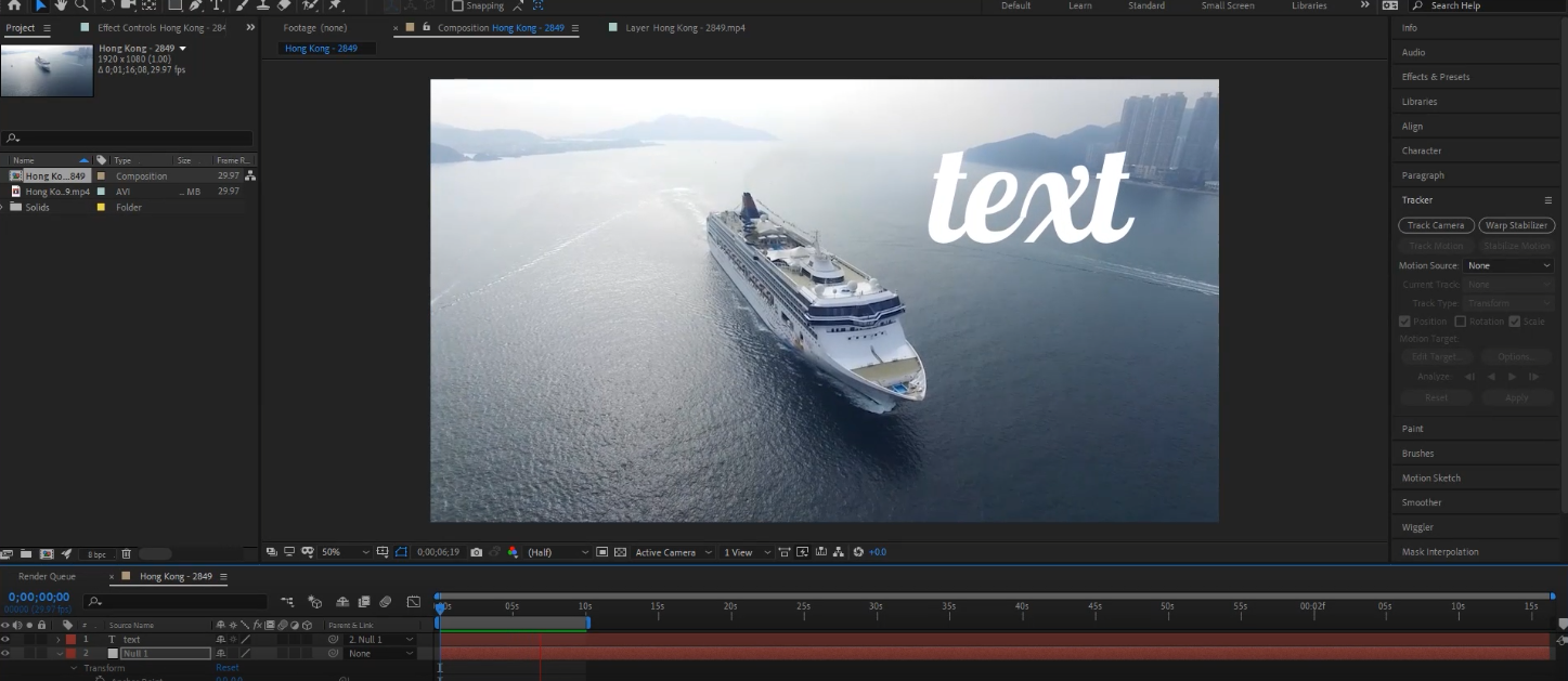 text motion tracking after effects