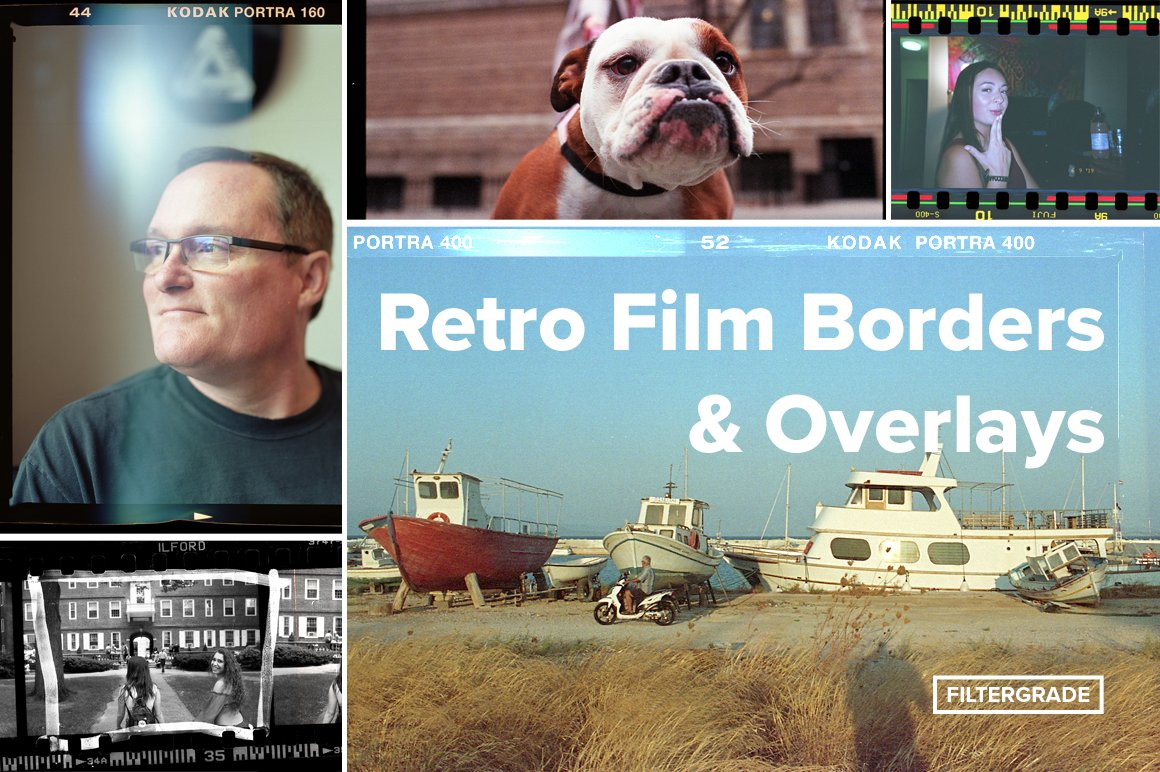 retro film borders & overlays