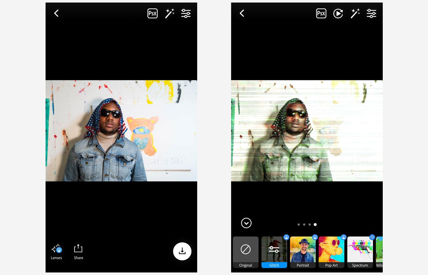 glitch lens ps camera app