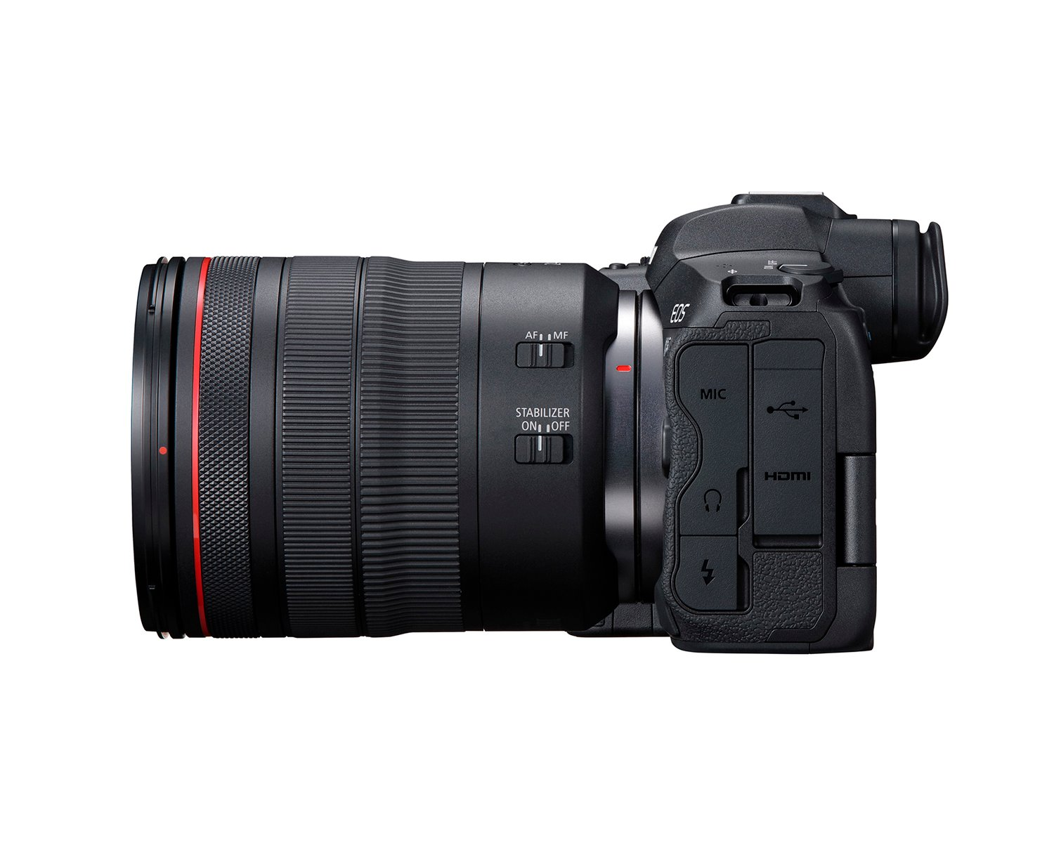 canon eos r5 side with lens
