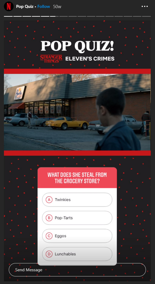 pop quiz netflix ig story