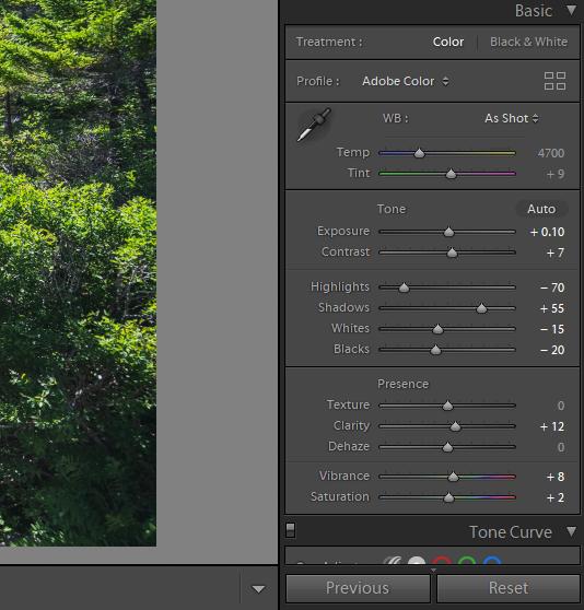 updated light settings for landscape photo in lightroom