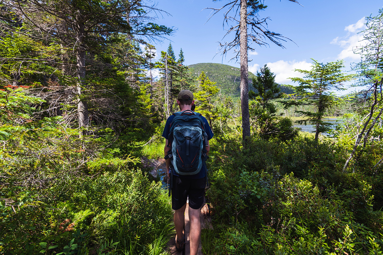 hiking around Lonesome Lake, New Hampshire