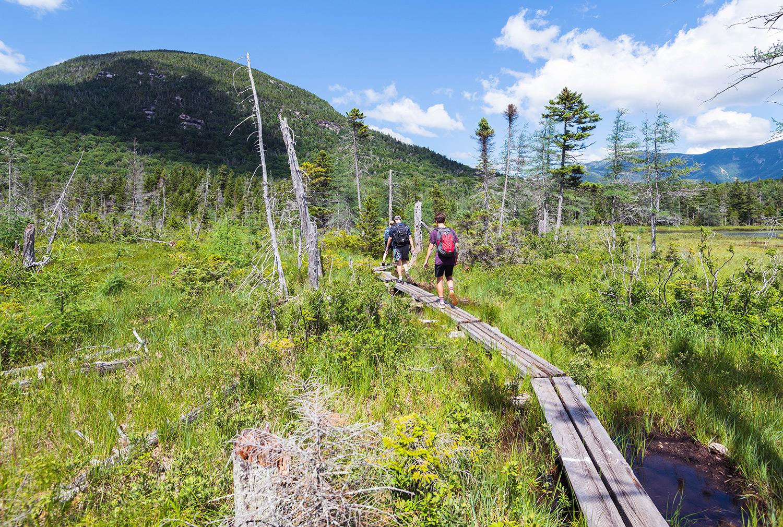 walking around Lonesome Lake in New Hampshire