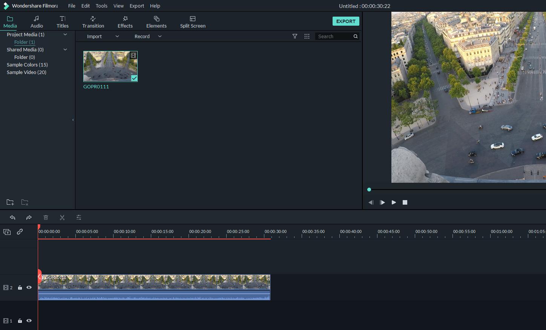 filmora9 importing clips