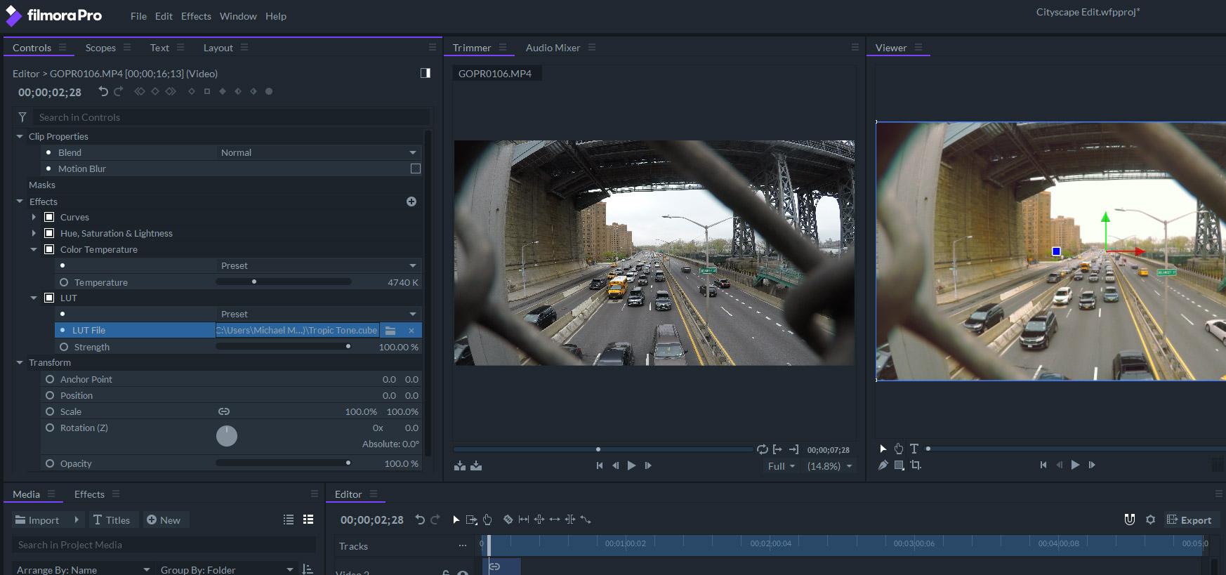wondershare filmorapro add luts to footage
