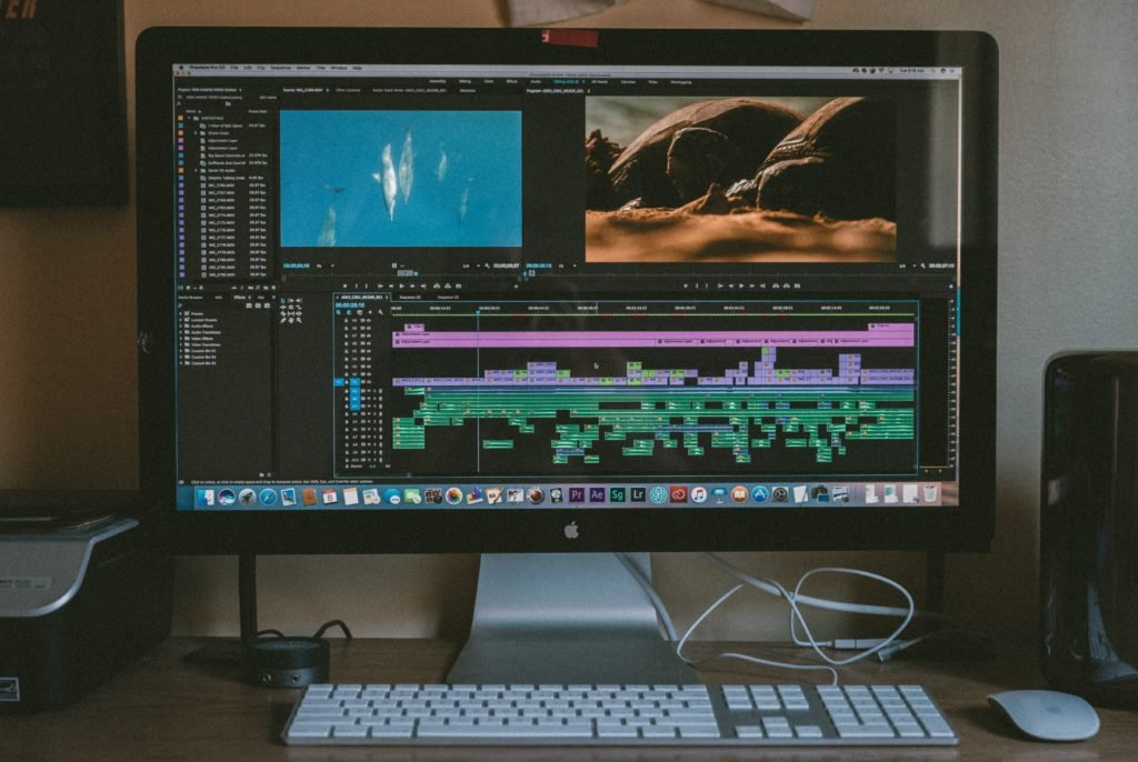 video editing premiere pro timeline on monitor